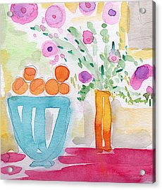 Oranges In Blue Bowl- Watercolor Painting Acrylic Print by Linda Woods