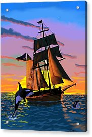 Orcas At Sunset Acrylic Print by Brad Simpson