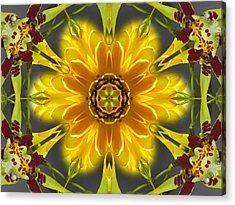 Orchid Flower Star Mandala Acrylic Print
