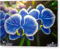Orchid-strated Blues Acrylic Print