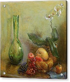 Orchid With Basket Of Fruit And Green Vase Oil On Canvas Acrylic Print by Gail Schulman