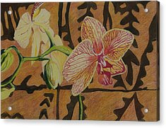 Orchid With Tapa Acrylic Print