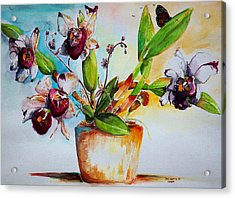 Acrylic Print featuring the painting Orchids Of The Bay by Bernadette Krupa