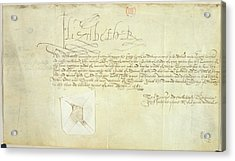 Order Signed By Elizabeth I Acrylic Print by British Library