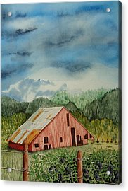 Acrylic Print featuring the painting Oregon Barn by Katherine Young-Beck
