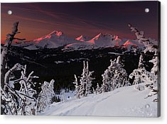 Acrylic Print featuring the photograph Oregon Cascades Winter Sunset by Kevin Desrosiers
