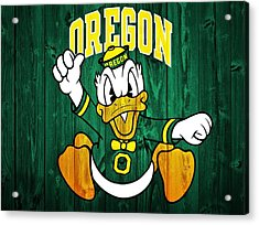 Oregon Ducks Barn Door Acrylic Print by Dan Sproul