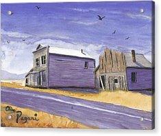 Oregon Ghost Town Watercolor Acrylic Print