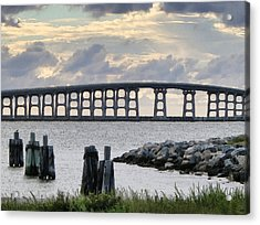Oregon Inlet Bridge And Pilings Acrylic Print by Patricia Januszkiewicz