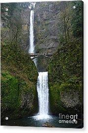 Oregon Long Shot Of  Falls Acrylic Print by Susan Garren