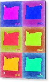 Oregon Pop Art Map 2 Acrylic Print by Naxart Studio