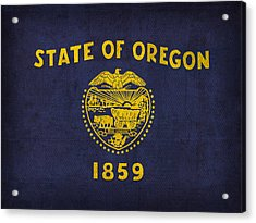 Oregon State Flag Art On Worn Canvas Acrylic Print by Design Turnpike