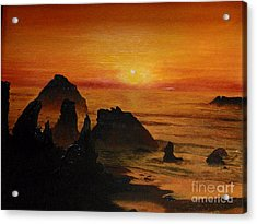 Acrylic Print featuring the painting Oregon Sunset by Suzette Kallen