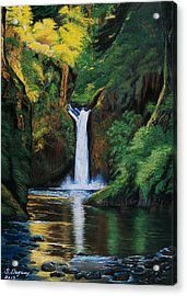 Oregon's Punchbowl Waterfalls Acrylic Print