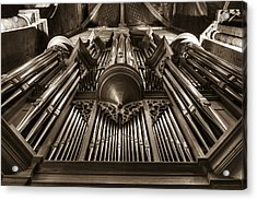Organ In Sepia Acrylic Print by Charles Lupica