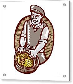 Organic Farmer Harvest Basket Woodcut Linocut Acrylic Print