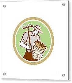 Organic Farmer Holding Rake Harvest Basket Retro Acrylic Print by Aloysius Patrimonio