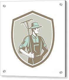 Organic Farmer Rake Shield Woodcut Retro Acrylic Print by Aloysius Patrimonio