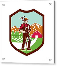 Organic Farmer Rake Woodcut Shield Retro Acrylic Print by Aloysius Patrimonio