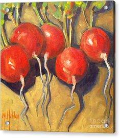 Organic Radishes Still Life Acrylic Print by Mary Hubley