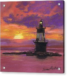 Orient Point Lighthouse Sunset Acrylic Print by Susan Herbst