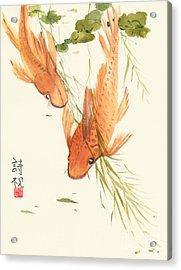 Oriental Koi II Acrylic Print by Sandy Linden
