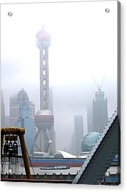 Acrylic Print featuring the photograph Oriental Pearl Tower Under Fog by Nicola Nobile