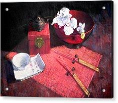 Oriental Still Life Acrylic Print by Jackie Simmonds