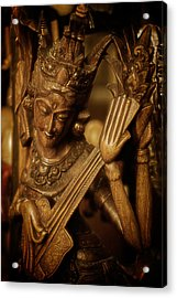 Oriental Wooden Princess Playing Instrument Acrylic Print by Dave Garner