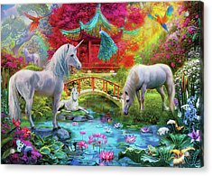 Acrylic Print featuring the drawing Orietnal Unicorns by Jan Patrik Krasny
