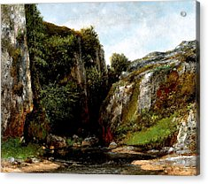 Acrylic Print featuring the digital art Origin Of A Stream by Gustave Courbet