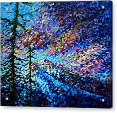 Original Abstract Impressionist Landscape Contemporary Art By Madart Mountain Glory Acrylic Print