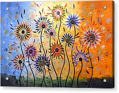 Original Abstract Modern Flowers Garden Art ... Explosion Of Joy Acrylic Print