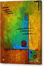 Original Abstract Painting Digital Conversion For Textured Effect Resonating IIi By Madart Acrylic Print by Megan Duncanson