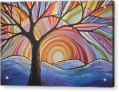 Acrylic Print featuring the painting Original Abstract Tree Landscape Painting ... Mountain Majesty by Amy Giacomelli