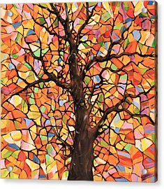 Original Abstract Tree Landscape Painting ... Stained Glass Tree #2 Acrylic Print