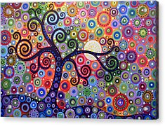 Acrylic Print featuring the painting Original Abstract Tree Landscape Painting ... The Coming Day by Amy Giacomelli