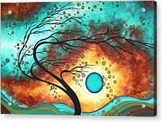 Original Bold Colorful Abstract Landscape Painting Family Joy II By Madart Acrylic Print by Megan Duncanson