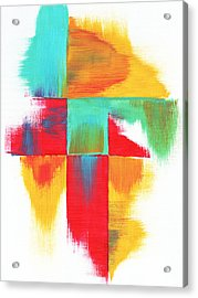 Original Bold Colorful Abstract Painting Indecisive By Madart Acrylic Print by Megan Duncanson