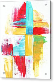Original Bold Colorful Abstract Painting Patchwork By Madart Acrylic Print by Megan Duncanson
