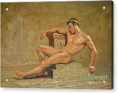Original Classic Oil Painting Gay Man Body Art Male Nude -023 Acrylic Print