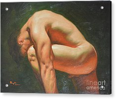 Original Classic Oil Painting Man Body Art-male Nude -042 Acrylic Print
