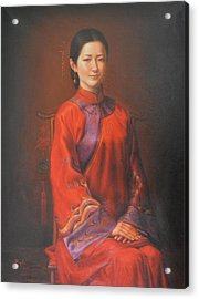 Original Classic Portrait Oil Painting Woman Art - Beautiful Chinese Bride Girl Acrylic Print