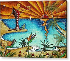 Original Coastal Surfing Whimsical Fun Painting Tropical Serenity By Madart Acrylic Print by Megan Duncanson