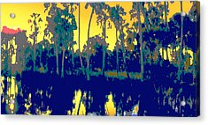 Acrylic Print featuring the painting Original Digital Fine Art Palms Reflections Sunset by G Linsenmayer