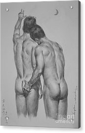Original Drawing Sketch Charcoal Chalk Male Nude Gay Man Moon Art Pencil On Paper By Hongtao Acrylic Print