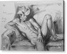 Original Drawing Sketch Charcoal Chalk Male Nude Gay Man On Sofa Art Pencil On Paper By Hongtao Acrylic Print