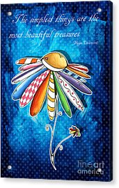 Original Hand Painted Daisy Quilt Painting Inspirational Art Quote By Megan Duncanson Acrylic Print by Megan Duncanson