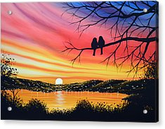 Original Landscape Art Birds Painting ... Alone Now Acrylic Print