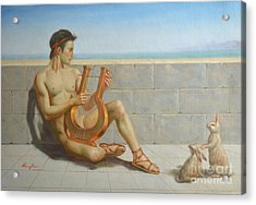 Original Oil Painting Gay Man Art-male Nude And Rabbit#16-02-5-41 Acrylic Print
